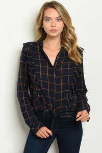 S10-3-4-T1514 NAVY CHECKERED TOP 3-2-1