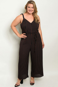 S9-18-2-J96751X BLACK STRIPES PLUS SIZE JUMPSUIT 3-2-2