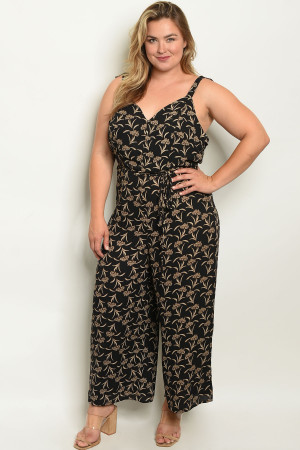 S4-7-4-J96752X BLACK PRINT PLUS SIZE JUMPSUIT 2-2-2