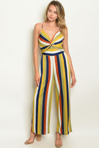 SA3-00-1-J4724 OLIVE MULTI STRIPES JUMPSUIT 2-2-2