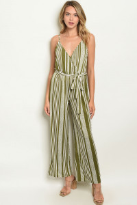 SA3-00-4-J4697 OLIVE IVORY STRIPES JUMPSUIT 2-2-2