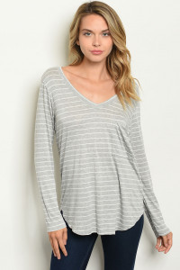 C11-B-1-T7634 GRAY WHITE STRIPES TOP 1-2-2