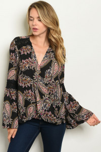 S11-18-5-T8388 BLACK WITH PAISLEY PRINT TOP 2-2-2