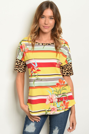 C47-B-7-T22041 YELLOW STRIPES FLORAL TOP 2-2-2