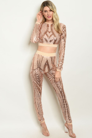 S12-6-1-SET408461 NUDE W/ SEQUINS TOP & PANTS SET 2-2-2 ***WARNING: California Proposition 65***