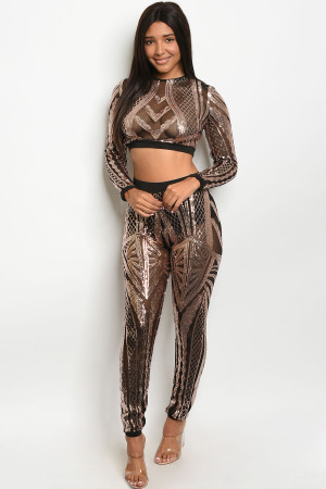 S11-12-1-SET408461 BLACK ROSE GOLD W/ SEQUINS TOP & PANTS SET 2-2-2 ***WARNING: California Proposition 65***