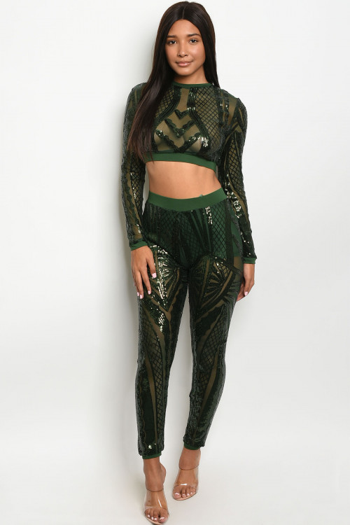 S9-9-1-SET408461 GREEN W/ SEQUINS TOP & PANTS SET 2-2-2 ***WARNING: California Proposition 65***