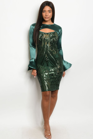 S11-19-1-D20501 GREEN W/ SEQUINS DRESS 2-2-2 ***WARNING: California Proposition 65***