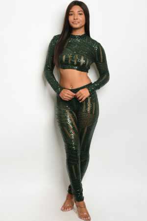 S11-15-1-SET8025 GREEN W/ SEQUINS TOP & PANTS SET 2-2-2 ***WARNING: California Proposition 65***