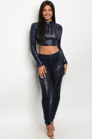 S12-9-1-SET8025 NAVY W/ SEQUINS TOP & PANTS SET 2-2-2 ***WARNING: California Proposition 65***