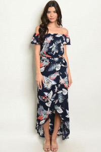 S23-2-2-SET103425 NAVY FLORAL TOP & SKIRT SET 3-2-1