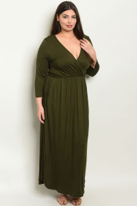 S22-12-4-D5241X OLIVE PLUS SIZE DRESS 2-2-2