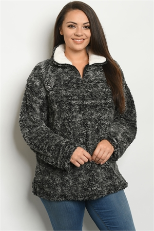 SA4-0-1-S25015X CHARCOAL FLEECE PULL OVER PLUS SIZE SWEATER 2-2-2