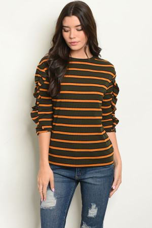 S9-20-4-T9072 OLIVE MUSTARD STRIPES TOP 3-2-1