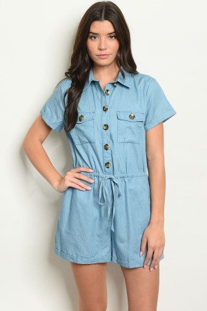 S15-12-6-R51792 LIGHT BLUE DENIM ROMPER 2-2-2