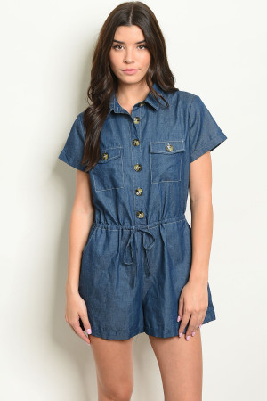 S9-19-1-R51792 DARK BLUE DENIM ROMPER 2-2-2