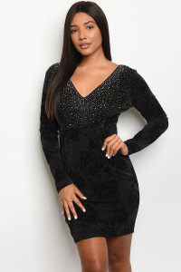 S4-1-1-D24634 BLACK SILVER WITH STUDS DRESS 2-2-2  ***WARNING: California Proposition 65***