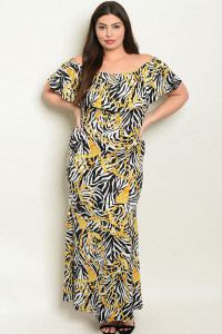 C50-A-7-D2014X ZEBRA WITH CHAIN PRINT PLUS SIZE DRESS 2-2-2