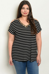C81-A-3-T2233X BLACK WHITE STRIPES LEOPARD PRINT PLUS SIZE TOP 2-2-2