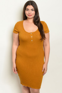 C39-A-2-D1864X MUSTARD PLUS SIZE DRESS 2-2-2