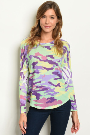 C74-B-5-T8773 PURPLE GREEN CAMOUFLAGE TOP 2-2-2