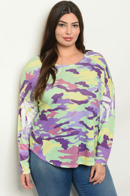 C75-B-2-T8773X PURPLE GREEN CAMOUFLAGE PLUS SIZE TOP 2-2-2