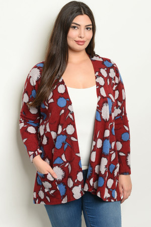 C27-B-4-C1403X BURGUNDY WITH FLOWERS PLUS SIZE CARDIGAN 2-2-2