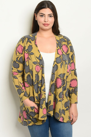 C23-B-6-C1403X MUSTARD WITH FLOWERS PLUS SIZE CARDIGAN 2-2-2