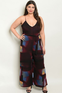 C19-A-7-J1765X BURGUNDY BLUE PRINT PLUS SIZE JUMPSUIT 2-2-2