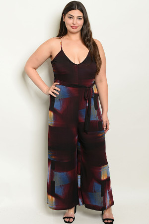 C19-A-3-J1765X BURGUNDY BLUE PRINT PLUS SIZE JUMPSUIT 2-2-2