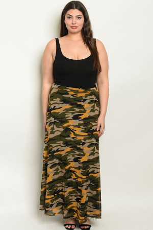 C13-A-3-S3111X MUSTARD OLIVE CAMOUFLAGE PRINT PLUS SIZE SKIRT 2-2-2