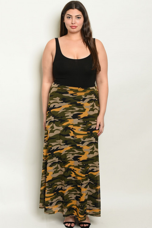 C18-A-1-S3111X MUSTARD OLIVE CAMOUFLAGE PRINT PLUS SIZE SKIRT 2-3-3