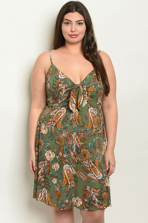 C13-A-7-D1744X GREEN WITH PAISLEY PRINT PLUS SIZE DRESS 2-2-2