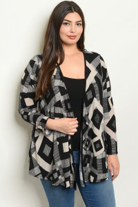 S2-7-4-C8337X BLACK TAUPE PLUS SIZE CARDIGAN 2-2-2