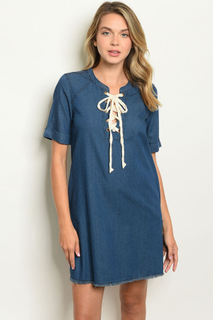 S21-9-2-D1014 MEDIUM BLUE DENIM DRESS 2-2-2