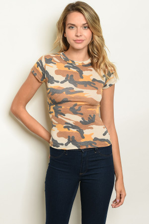 C32-B-3-T4672 MUSTARD CAMOUFLAGE TOP 2-2-2