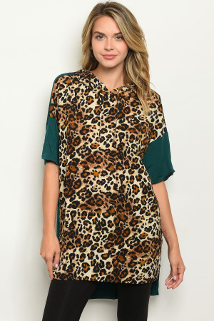 S21-2-2-T3038 GREEN ANIMAL LEOPARD PRINT TOP 2-2-2
