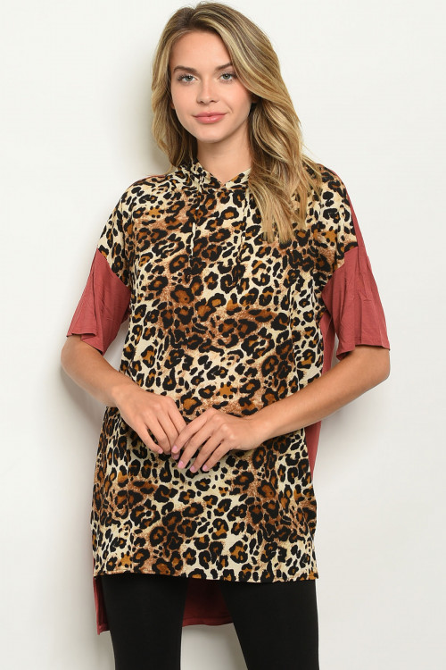 S12-4-2-T3038 MAUVE ANIMAL LEOPARD PRINT TOP 2-2-2