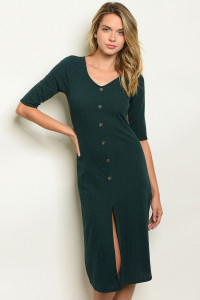 C45-A-5-DK5760 HUNTER GREEN DRESS 2-2-2