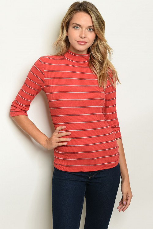 C48-B-1-T9128 BRICK BLACK STRIPES TOP 2-2-2