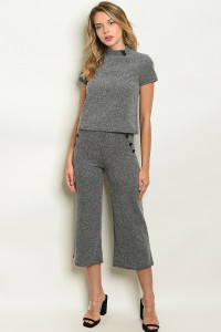 C47-A-3-SET5786 CHARCOAL TOP & PANTS SET 2-2-2