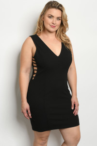 S20-3-4-D9573X BLACK PLUS SIZE DRESS 2-2-2