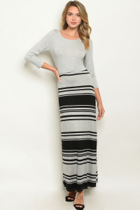 S9-10-2-D3083 GRAY BLACK DRESS 2-2-2