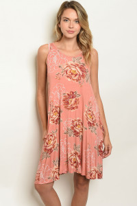 C77-A-3-D8508 PEACH WITH FLOWER PRINT DRESS 2-2-2