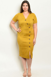 C59-A-3-D1881X MUSTARD PLUS SIZE DRESS 2-2-2