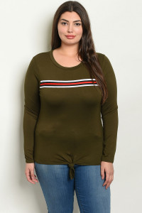 C76-B-2-T1902X OLIVE PLUS SIZE TOP 2-2-2