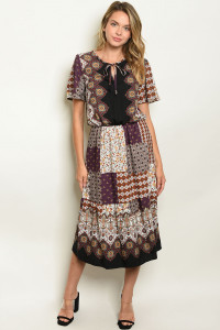 C87-A-4-D0683 OFF WHITE PURPLE PRINT DRESS 2-2-2