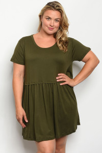 S18-2-2-D3472X OLIVE PLUS SIZE DRESS 2-2-2