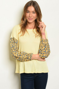 C91-B-6-T21993 YELLOW ANIMAL LEOPARD PRINT TOP 2-2-2