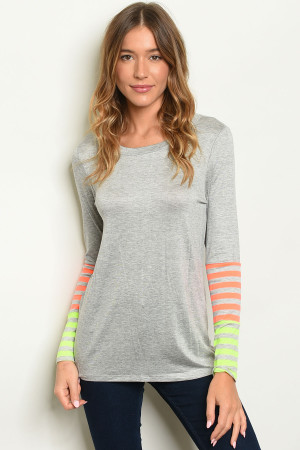 C96-B-5-T2438 GRAY NEON ORANGE TOP 2-2-2
